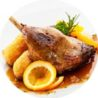 Duck leg confit with orange sauce