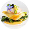 Halibut steak with champagne sauce